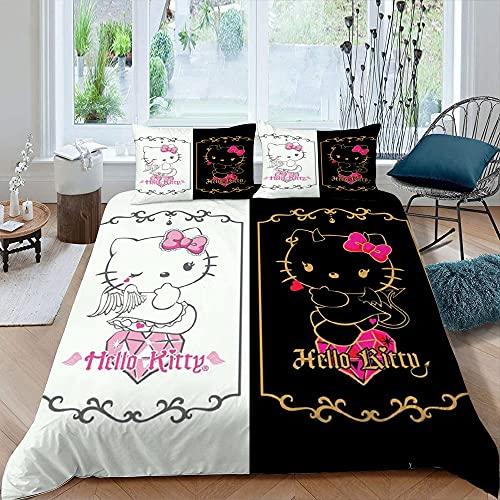 Kreskówka 3 szt. zestawy pościeli pojedynczy rozmiar He-llo Kit-ty czarny biały poszwa na kołdrę sypialnia dekoracja 1 poszwa na kołdrę, 2 poszewki na poduszki