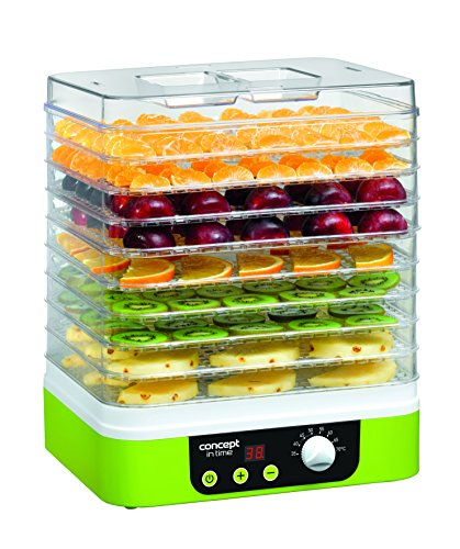 Concept Electrodomésticos SO-1060 Deshidratador de alimentos, temporizador, con 9 bandejas rectangulares, temperatura ajustable de 35-70 grados, 1200 W, 46 Decibelios, Plástico, Verde y blanco