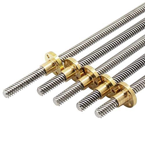 Daoluogan T8 Lead Screw, Od 8mm Pitch 2mm Stainless Steel Lead Screw With Brass Nut, 250mm 300mm 330mm 350mm 400mm 3d Printer Parts (Size : 300mm Lead screw)