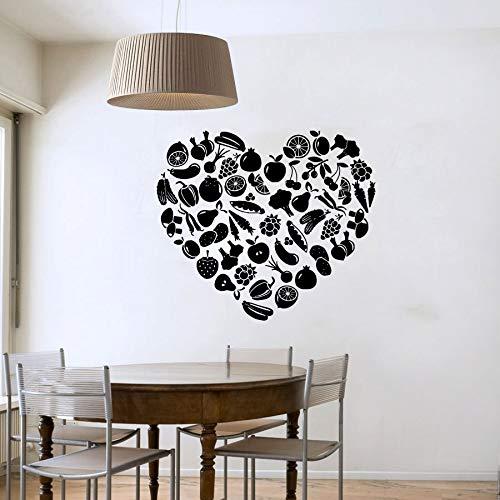 Pegatinas de pared de frutas y verduras en forma de corazón DIY extraíble decoración del hogar calcomanías de pared pegatinas de cocina A9 51x43cm
