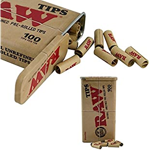Raw Pre-Rolled Filter Tips in a Slide Top RAW Tin - 100 Filter Tips per Tin (2 Tins (200 Filters))