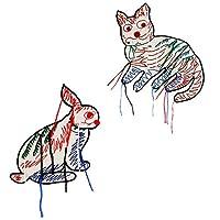 うさぎ猫刺?アップリケパッチ縫製服フリンジタッセルバッジTシャツバッグデコレーション 2ピース TH2246