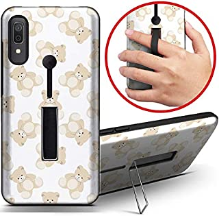 [ Compatible with Samsung Galaxy A20 / A30 ] Dual Armor Shockproof Finger Loop Strap Ring Holder Hard Case Cover with Kickstand (Teddy Bear)