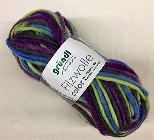 Gründl Filzwolle Color,Filzen in der Waschmaschine,50gr. 100% Schurwolle, (42 lila grün)