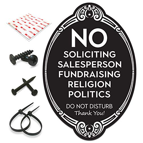 """SignSeries No Soliciting Sign for House - No Knock Door Sign, 5.75"""" X 4"""" - All Mounting Hardware Included, Easy Installation on Wall, Door, Knocker or Doorbell - Heavy Duty and Weather Resistant"""