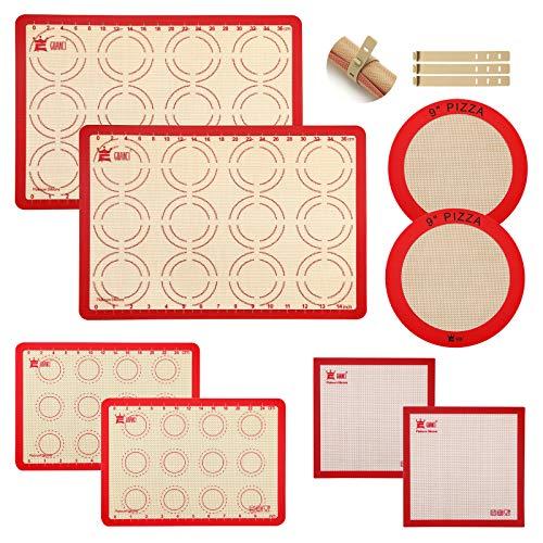 8-Piece Silicone Baking Mat Set,GUANCI 2PCS 16-1/2' x 11-5/8'Non Stick Rolling Macaron Mat&2PCS 11-3/4' x 8-1/4' Mat&2PCS Square Mat&2PCS 9'Round Pizza Mat for Bake Pans/Break/Macaroon/Pizza/Cookie