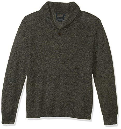 Pendleton Men's Shetland Shawl Collar Pullover Sweater, Midnight camo, LG