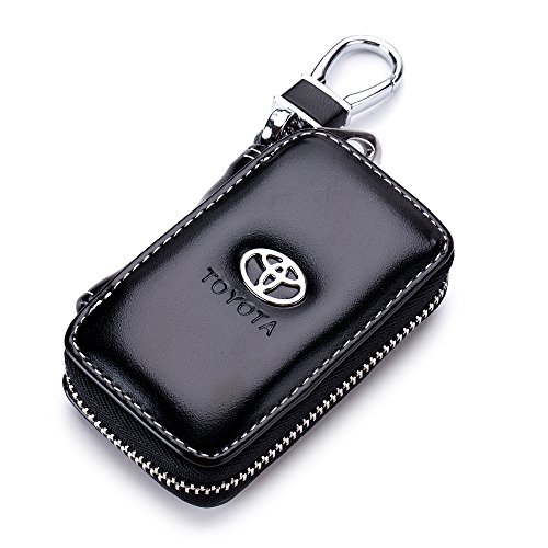 QZS Car Case Remote Key Bag - Leather Black Car Keychain Wallet Bag Case for Key Chains Key Rings Holder for Toyota Cars