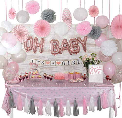 +100 Pcs Baby Shower Decorations for Girl | White, Coral Pink and Gray Theme | Balloons | Banner | Pom Poms | Lantern | Tassel Garland | Fan | Sash Badge | Tablecloth | Photo Booth Props | Guest Book