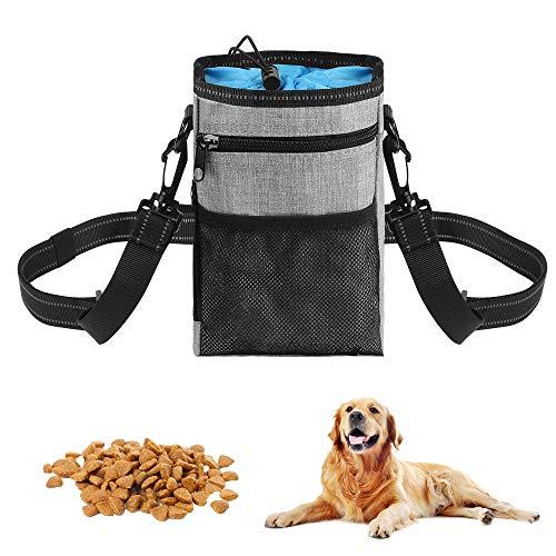 O-Kinee Bolsa de Entrenamiento para Perros, Bolsa Premios Perro, Bolso de Entrenamiento de Perro con Cinturón Ajustable para Almacenamiento de Pienso Juguetes Paras Mascotas, Azul