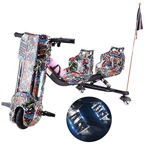 Elektrische Drift-Trikes 360 Electric Drift Dreirad Hinteres Doppelfeder-Stoßdämpfungsdesign Hinzugefügt Doppelsitzmodus Für Vater Und Kind Zum Gemeinsamen Fahren,Schwarz