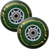 Liberty Imports 2 PCS Replacement Scooter Wheels 100 mm with ABEC Bearing Kit for Razor Scooter (Tools Included) (Green)