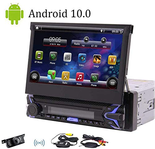 "Single Din Android 10.0 Pie Car Stereo 7"" HD Capacitive Touchscreen Bluetooth GPS Radio InDash Navigation 1 Din Auto FM AM RDS Receiver Support SWC Mirror Link WiFi CAM-in with Wireless Back-up Camera"