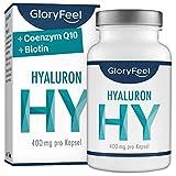 GloryFeel® Hyaluronsäure Kapseln 400mg - Vergleichssieger 2019* - 500-700 kDa Hochdosiert Plus Coenzym Q10 und Biotin - 90 Vegane Kapseln - Hergestellt in Deutschland