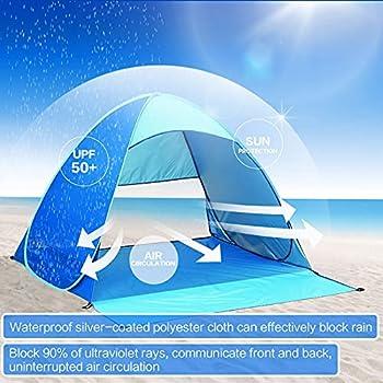 Abri de plage escamotable, tente de plage portable, tente de plage pour 2-3 personnes, tente de plage ventilée avec zone en filet, tente de plage super légère avec sac de transport et piquets de tente