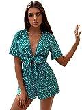 SweatyRocks Women's Sexy V Neck Self Tie Front Short Romper Jumpsuit Playsuit Green S