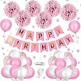 MMTX Decorazione Compleanno Bimba, Buon Compleanno Ghirlanda Balloons Banner Set con Decorazione di Compleanno Carta Velina Pompon Rosa e Rosa Palloncini per Ragazza Fidanzata Figlia