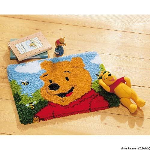 Vervaco Knüpfteppich Winnie The Pooh Knüpfpackung zum Selbstknüpfen eines Teppichs, Stramin, weiß, 45 x 35 x 0,3 cm