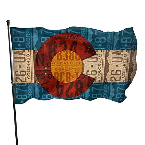 shenhaimojing Of Colorado License Plate State Flag House Yard Decoration,Breeze Flag 150X90Cm,Home Garden Flag,Outdoor Banner Flags,Outdoor Flag
