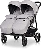 Double Buggy Domino with Footmuff - Parent Facing Lightweight Double Pushchairs, Backrest Adjustment