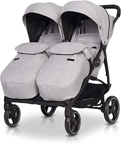 Silla de Paseo Domino Twin - 2020 Modelo actualizado de Carro Gemelar - Silla de Paseo bebe tiene cubiertas de las piernas, orientación del padre, mango ajustable, cubierta de lluvia