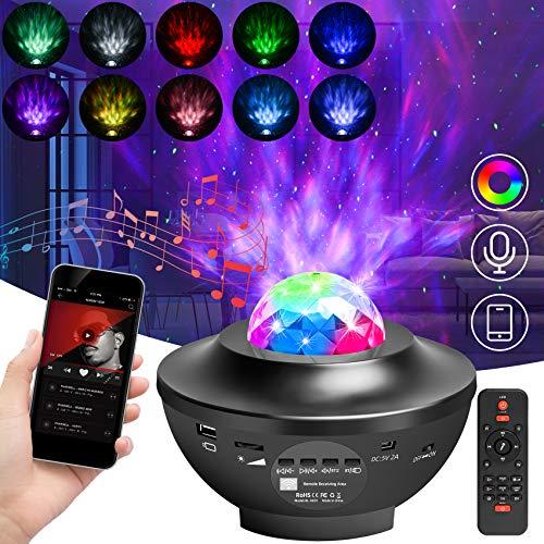 Proyector Estrellas, LED Proyector Luces Galaxia Luz Nocturna Reproductor de Música con Control Remoto Bluetooth Temporizador Altavoz para Fiesta Cumpleaños Regalo Bebe Boda