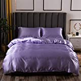 Honeystore Duvet Cover Silk Like Satin Bedding Sets Full Size Duvet Cover 2 Pillowcases Lilac Full (1 Duvet Cover + 2 Pillow Shams No Comforter)