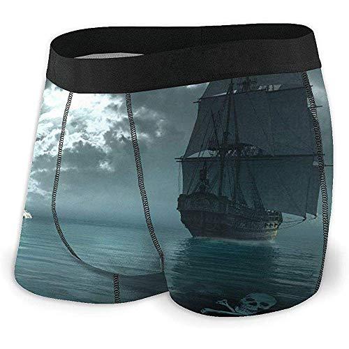 Barco Pirata navegando Cerca de un Castillo gótico Ropa Interior para Hombres, Ropa Interior de ángulo Plano