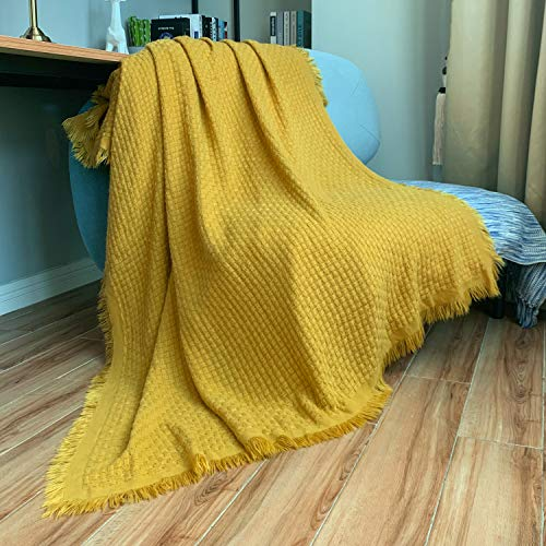 DISSA Knitted Blanket Textured Solid Super Soft Decorative Throw Blanket Cozy Plush Lightweight Fluffy Woven Blanket for Bed Sofa Couch Cover Living Bed Room (Mustard Yellow, 51'x63')