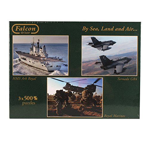 Jumbo 11039 - Falcon - By Sea, Land and Air Puzzle, 3 x 500 Teile
