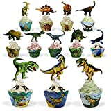 BeeGreen Dinosaur Party Supplies Cupcake Toppers and Wrappers 24 Pack...