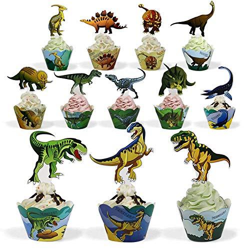 BeeGreen Dinosaurier Kindergeburtstag Cupcake Toppers Wrappers 48 Stück Kuchendeko, Kinder Party Deko für Jungs Dino Geburtstagsparty, Kuchen, Cake, Torten Muffin Decoration