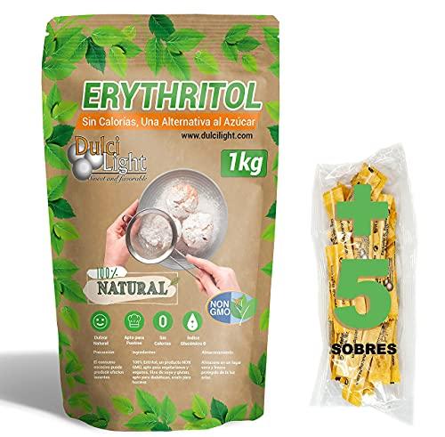 DulciLight Eritritolo 1kg 100% Naturale | 5 buste regalo di dolcificante Bruno. | DulciLight Il sapore naturale dello zucchero.