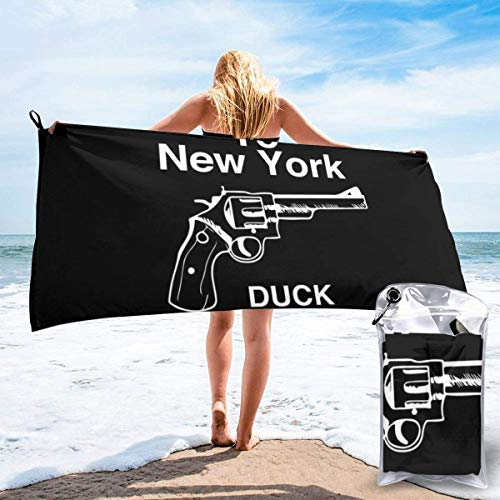 DaLaBengBa-shop Welcome to New York Duck Mother Fucker Microfiber Large Beach Towel, Convenient and Foldable, Equipped with Carabiner for Easy Storage, Soft Bath Towel, Quick-Drying Shower Towel
