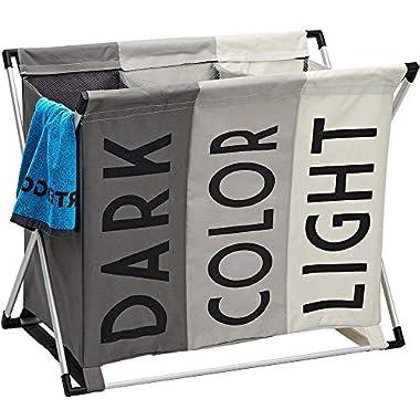 HOMEST Laundry Basket 3 Sections, Large Dirty Clothes Hamper Sorter for Bathroom, Foldable Hamper Divided, Multicolor