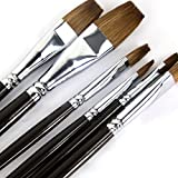 Artist Oil Paint Brushes Red Sable Long Handle, Flat (Bright) Paint Brush Set for Acrylic, Oil, Gouache and Watercolor Painting Offering Excellent Paint Holding and Easy Flow of Paint