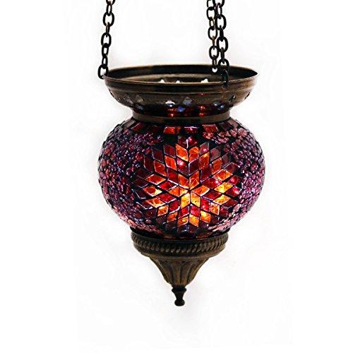 Mosaik Lampe Hängelampe Windlicht Pendelleuchte Aussenleuchte Deckenleuchte aus Glas Rot Teelichthalter Orientalisch Handarbeit dekoration - Gall&Zick
