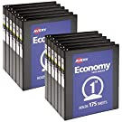"""Avery 1 inch Economy View 3 Ring Binder, Round Ring, Holds 8.5"""" x 11"""" Paper, 12 Black Binders (05710)"""