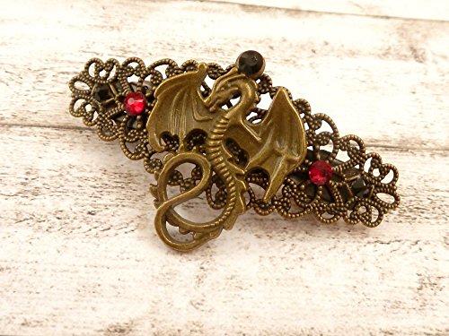 Kleine Haarspange mit Drachen Motiv, Fantasy Haarschmuck