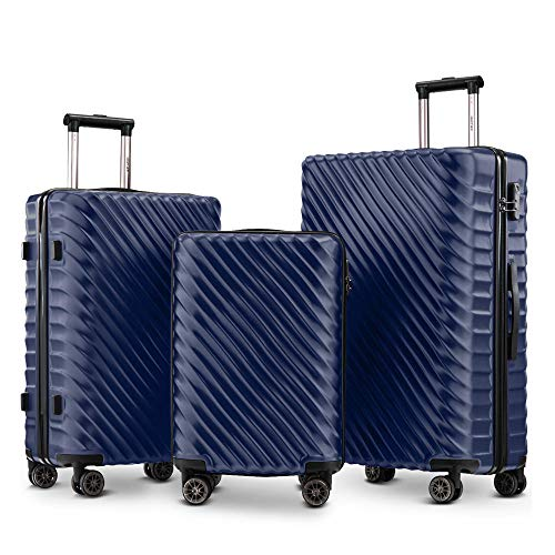 Luggage Set 3 Pieces- Hard Shell Suitcases Cabin Hand Travel Wheels ABS+PC Case with Lock (Dark Blue)-Dark Blue