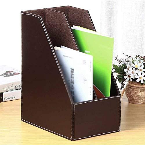 PN-Braes Briefablagen Systeme Lederne zweispaltige Datenveredelungsbox Desktop-Speichersitz Leder-Bürobedarf-Aktenhalter Dateisortierung (Color : Coffee, Size : 34.5x27x18cm)