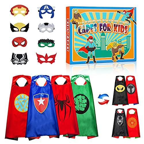 BOXYUEIN Supereroi Giocattoli Mantello, Design Bifacciale 4 Mantelli / 8 Maschere - Regalo di Compleanno (4 PCS)