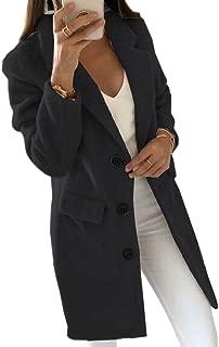 Women's Causal Long Sleeve Notch Lapel Single Breasted Coat Pea Coat