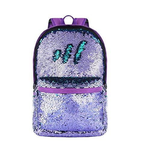 HeySun Reversible Sequin Backpack for School Bookbag for Girls Lightweight Back Pack for Boys Purple/Teal