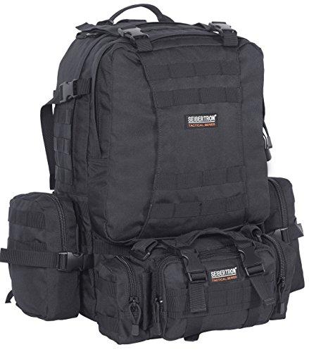 Seibertron Rucksack Backpack wasserdicht Tourenrucksack Wasserdichter Trekking-Rucksack aus 900D, 50 Liter (schwarz)