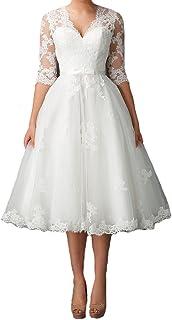 942925d55cb1 Graceprom Women's Tea Length Wedding Dresses for Bride Half Sleeves v Neck Bridal  Gowns