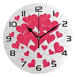 One Bear Mother's Day Love Heart Wall Clock, Silent Non Ticking Battery Operated Valentine's Day Round Clock for Kitchen Office School Home Decorative