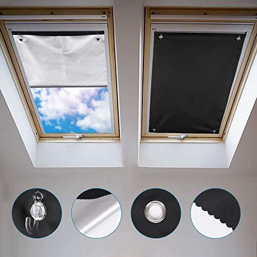 Johgee Dachfenster Rollo Thermo Sonnenschutz Silberbeschichtung Verdunkelungsrollo für VELUX Dachfenster GGU GGL GPU GPL GHU GHL GTU GTL GXU GXL (ohne bohren mit Saugnäpfen,Größe 76x115cm)