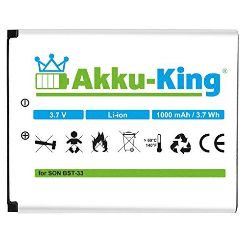 Akku-King Akku kompatibel mit Sony-Ericsson BST-33 - Li-Ion - für K800i, K530i, K550i, K630i, K660i, K800i, K810i, P990i, W850i