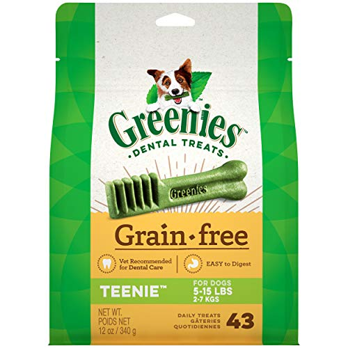 GREENIES Grain Free TEENIE Natural Dog Dental Care Chews Oral Health Dog Treats, 12 oz. Pack (43 Treats)